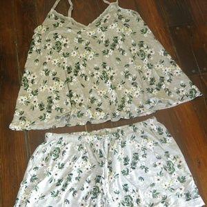 Grey floral pajama set